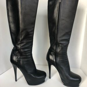 YSL Tribute Black Platform Knee High Boot 38.5